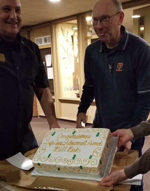 John Stankus and Bill Birk with cake